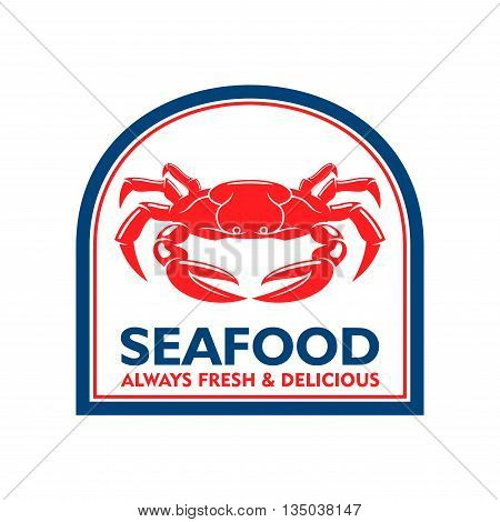 Delicious grilled soft shell crab symbol for mediterranean restaurant badge or seafood market label design usage with red crab in blue arched frame. Retro style