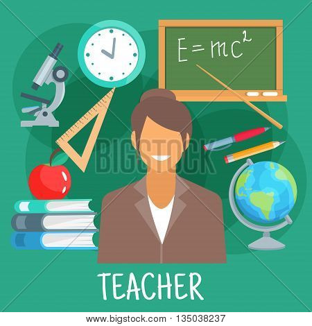 Teacher in school classroom flat icon with earth globe, microscope and blackboard with formula of energy, pile of books with apple on the top, wall clock, triangle ruler, pen and pencil. Education theme or schoolteacher profession design usage