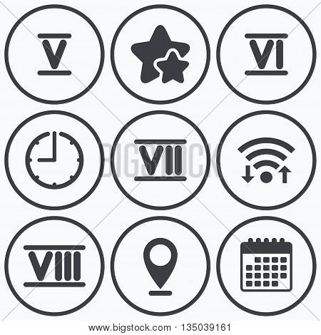 Clock, wifi and stars icons. Roman numeral icons. 5, 6, 7 and 8 digit characters. Ancient Rome numeric system. Calendar symbol.