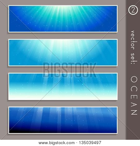 Set of four elegant underwater banners. Graphics are grouped and in several layers for easy editing. The file can be scaled to any size.