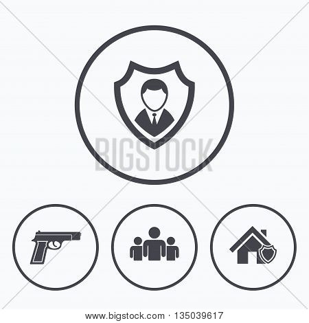 Security agency icons. Home shield protection symbols. Gun weapon sign. Group of people or Share. Icons in circles.