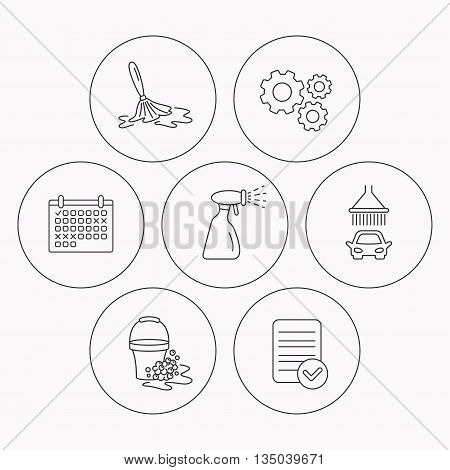 Car wash icons. Automatic cleaning station linear signs. Bucket with foam bubbles, spray flat line icons. Check file, calendar and cogwheel icons. Vector