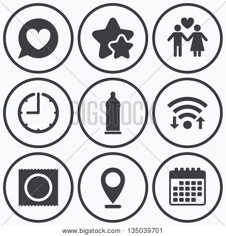Clock, wifi and stars icons. Condom safe sex icons. Lovers couple signs. Male love female. Speech bubble with heart. Calendar symbol.