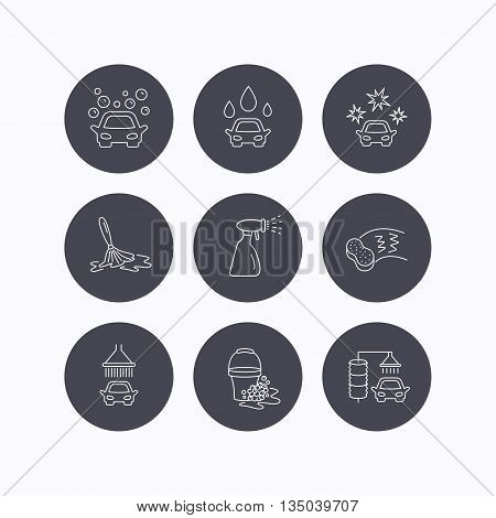 Car wash icons. Automatic cleaning station linear signs. Bucket with foam bubbles, sponge and spray flat line icons. Flat icons in circle buttons on white background. Vector