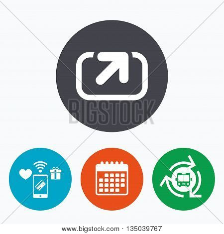 Action sign icon. Share symbol. Mobile payments, calendar and wifi icons. Bus shuttle.