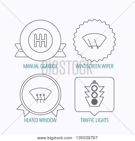 Traffic lights, manual gearbox and wiper icons. Heated window, manual transmission linear signs. Washing window icon. Award medal, star label and speech bubble designs. Vector