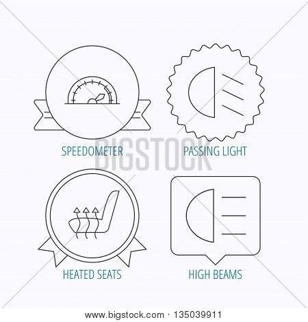 Speedometer, passing fog lights and heated seat icons. High beams linear sign. Award medal, star label and speech bubble designs. Vector