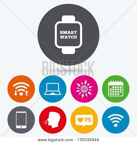 Wifi, like counter and calendar icons. Notebook and smartphone icons. Smart watch symbol. Wi-fi sign. Wireless Network symbol. Mobile devices. Human talk, go to web.