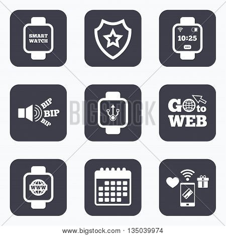 Mobile payments, wifi and calendar icons. Smart watch icons. Wrist digital time watch symbols. USB data, Globe internet and wi-fi signs. Go to web symbol.