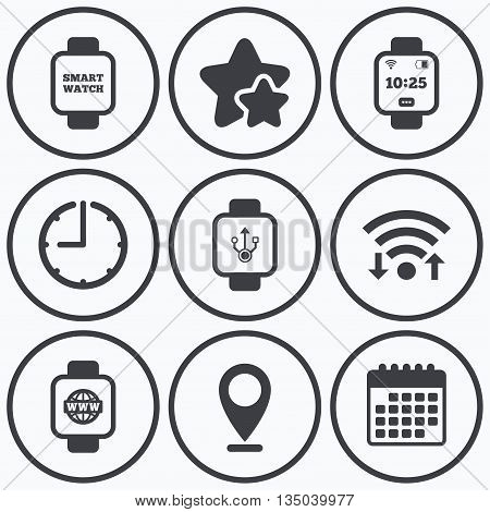Clock, wifi and stars icons. Smart watch icons. Wrist digital time watch symbols. USB data, Globe internet and wi-fi signs. Calendar symbol.