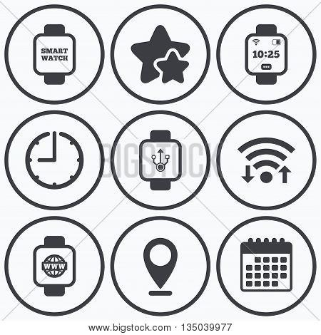 Clock, wifi and stars icons. Smart watch icons. Wrist digital time watch symbols. USB data, Globe internet and wi-fi signs. Calendar symbol.
