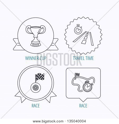 Winner cup, race timer and flag icons. Travel time linear sign. Award medal, star label and speech bubble designs. Vector