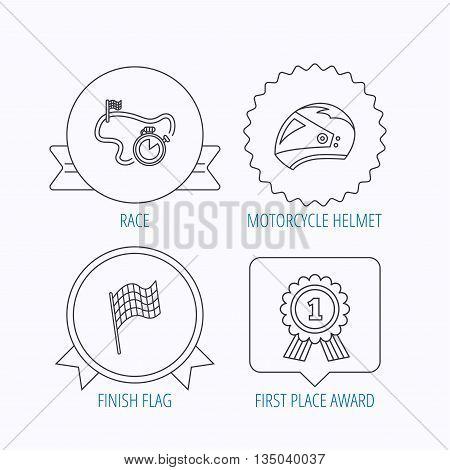 Race flag, motorcycle helmet and award medal icons. Start or finish flag linear sign. Award medal, star label and speech bubble designs. Vector