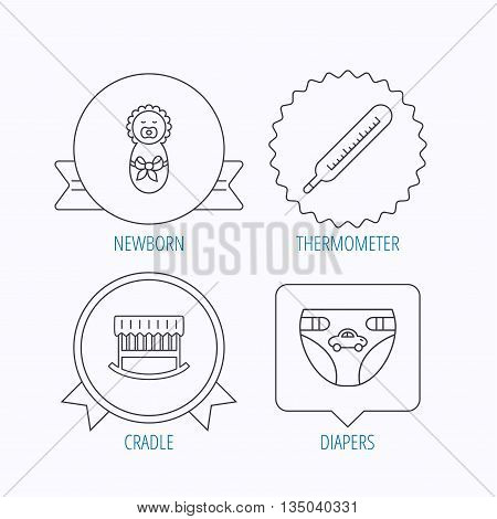 Newborn, diapers and thermometer icons. Cradle bed linear sign. Award medal, star label and speech bubble designs. Vector