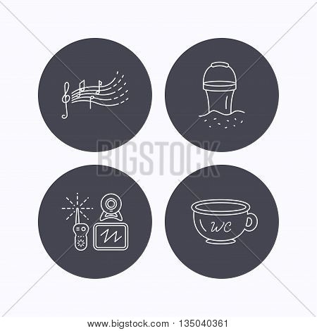 Baby wc, video monitoring and songs for kids icons. Beach bucket linear sign. Flat icons in circle buttons on white background. Vector
