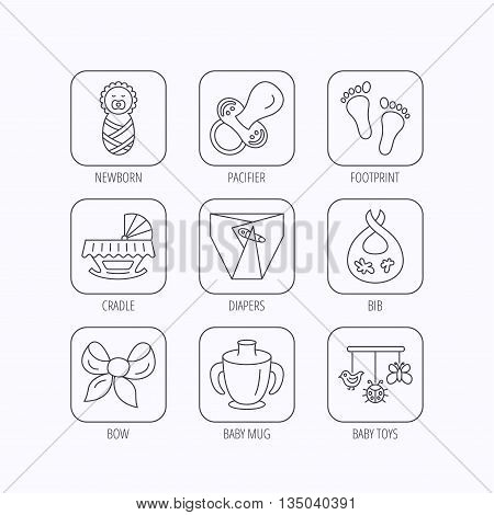 Pacifier, newborn and baby toys icons. Footprint, diapers and cradle bed linear signs. Mug, dirty bib flat line icons. Flat linear icons in squares on white background. Vector