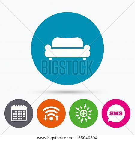 Wifi, Sms and calendar icons. Comfortable sofa sign icon. Modern couch furniture symbol. Go to web globe.