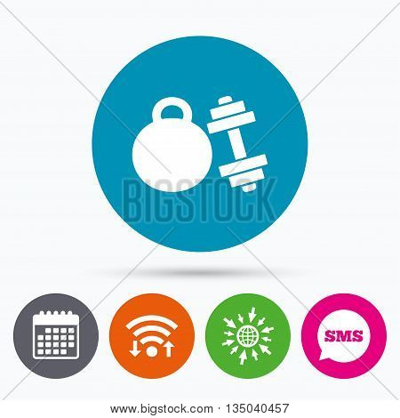 Wifi, Sms and calendar icons. Dumbbell with kettlebell sign icon. Fitness sport symbol. Gym workout equipment. Go to web globe.