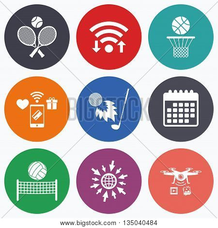 Wifi, mobile payments and drones icons. Tennis rackets with ball. Basketball basket. Volleyball net with ball. Golf fireball sign. Sport icons. Calendar symbol.