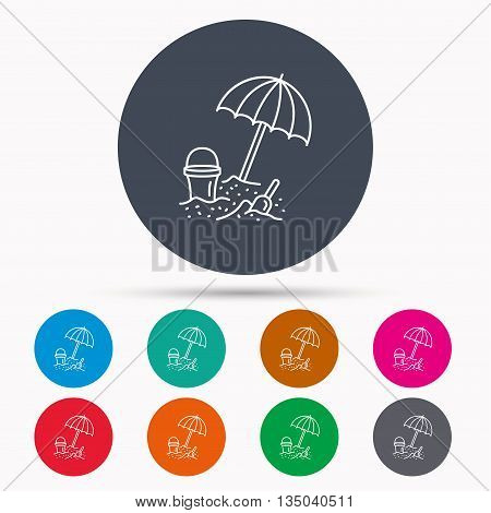 Beach umbrella in sand icon. Bucket with shovel sign. Baby summer games symbol. Icons in colour circle buttons. Vector