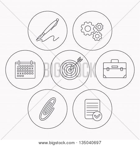 Briefcase, safety pin and target icons. Pen linear sign. Check file, calendar and cogwheel icons. Vector