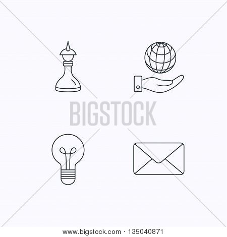 Strategy, save planet and mail envelope icons. Lamp lightbulb linear sign. Flat linear icons on white background. Vector