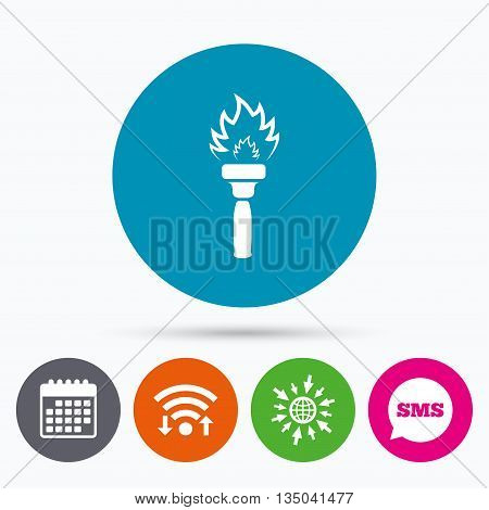 Wifi, Sms and calendar icons. Torch flame sign icon. Fire flaming symbol. Go to web globe.