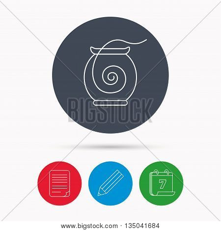 Dental floss icon. Teeth cleaning sign. Oral hygiene symbol. Calendar, pencil or edit and document file signs. Vector