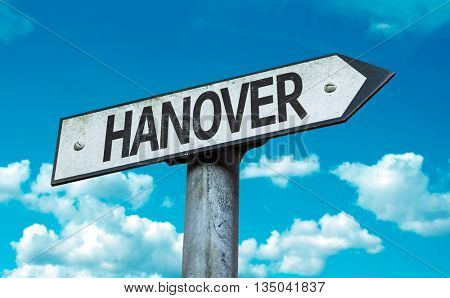 Hanover road sign in a concept image