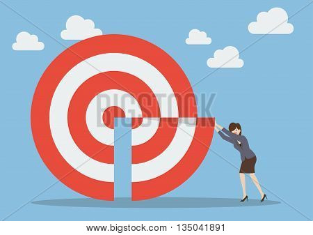 Businessman pushing missing piece in big target. Business target concept
