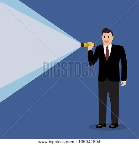Businessman holding flashlight. vector illustration business concept