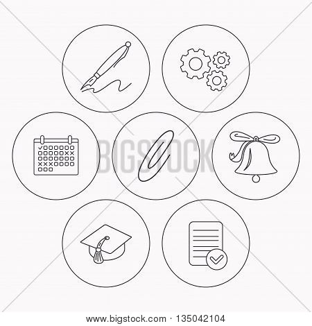 Graduation cap, pen and bell icons. Safety pin linear signs. Check file, calendar and cogwheel icons. Vector