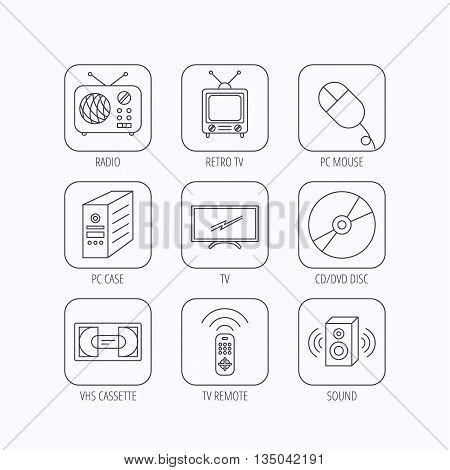 Retro TV, radio and DVD disc icons. PC mouse, VHS cassette and sound speaker linear signs. Flat linear icons in squares on white background. Vector