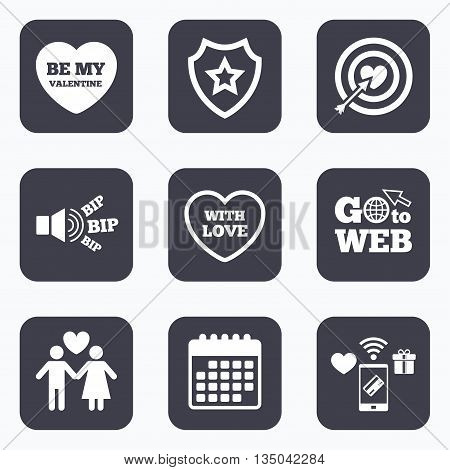 Mobile payments, wifi and calendar icons. Valentine day love icons. Target aim with heart and arrow symbol. Couple lovers sign. Go to web symbol.
