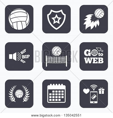 Mobile payments, wifi and calendar icons. Volleyball and net icons. Winner award laurel wreath symbols. Fireball and beach sport symbol. Go to web symbol.