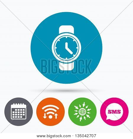 Wifi, Sms and calendar icons. Wrist Watch sign icon. Mechanical clock symbol. Men hand watch. Go to web globe.