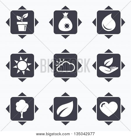 Icons with direction arrows. Garden sprout, leaf icons. Nature and weather signs. Sun, cloud and tree symbols. Square buttons.