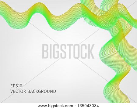 abstract vector waved line background - green and yellow