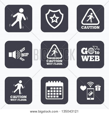 Mobile payments, wifi and calendar icons. Caution wet floor icons. Human falling triangle symbol. Slippery surface sign. Go to web symbol.