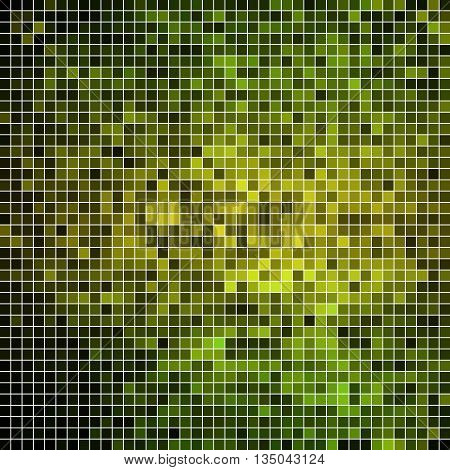 abstract vector square pixel mosaic background - green and yellow
