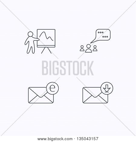 Mail, presentation and meeting chat bubbles icons. E-mail linear sign. Flat linear icons on white background. Vector