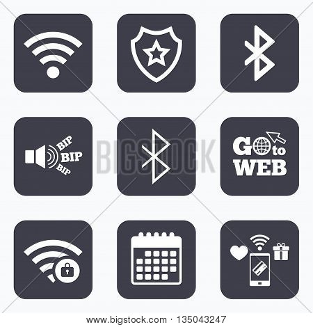 Mobile payments, wifi and calendar icons. Wifi and Bluetooth icons. Wireless mobile network symbols. Password protected Wi-fi zone. Data transfer sign. Go to web symbol.