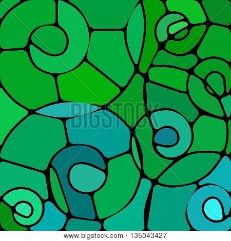 abstract vector stained-glass mosaic background - green and blue spirals