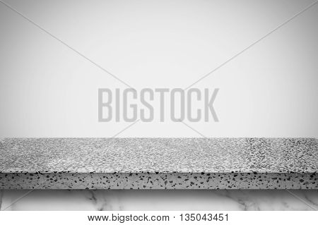 Empty white stone table with white gray gradient wall background. For display or montage your products.