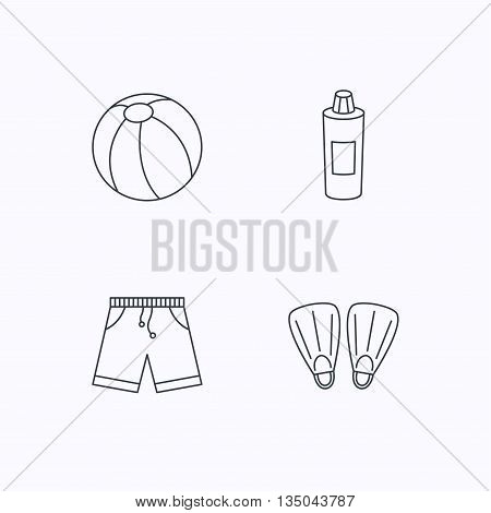 Flippers, swimming ball and trunks icons. Shampoo bottle linear sign. Flat linear icons on white background. Vector