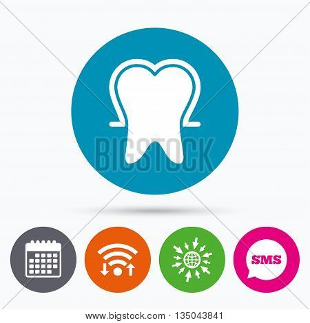Wifi, Sms and calendar icons. Tooth enamel protection sign icon. Dental toothpaste care symbol. Healthy teeth. Go to web globe.