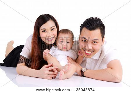 Portrait of asian parent and their six months old baby boy
