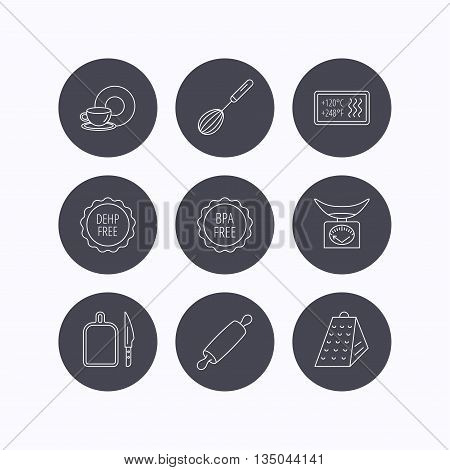 Kitchen scales, whisk and grater icons. Rolling pin, board and knife linear signs. Food and drink, BPA, DEHP free icons. Flat icons in circle buttons on white background. Vector