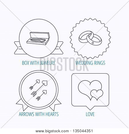 Love heart, jewelry and wedding rings icons. Arrows with hearts linear sign. Award medal, star label and speech bubble designs. Vector