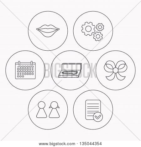 Lips, box with jewelry and couple icons. Bow-knot linear sign. Check file, calendar and cogwheel icons. Vector